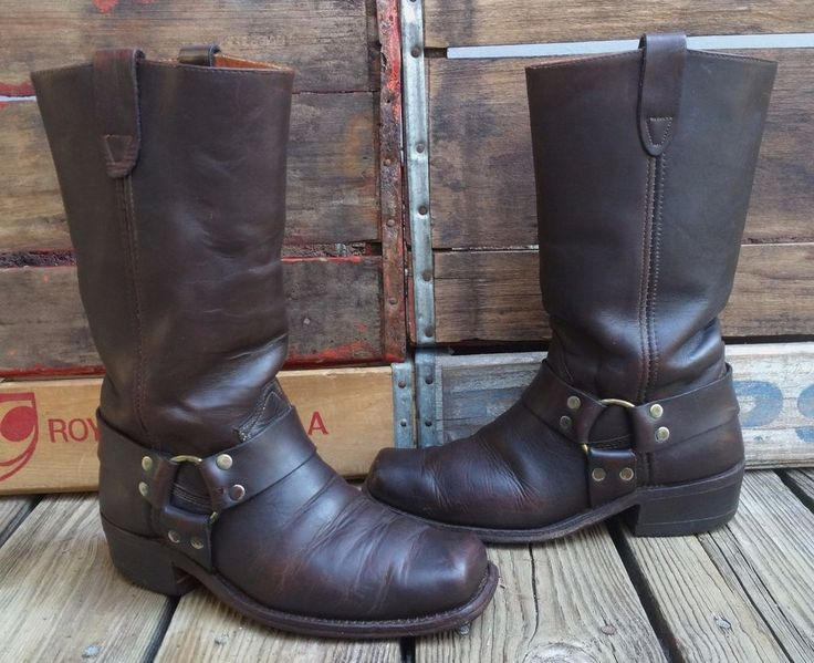 Vintage SEARS Brown Cowhide Leather Harness Motorcycle Biker Boots Men's 7.5D #Sears #Boots #Everyday