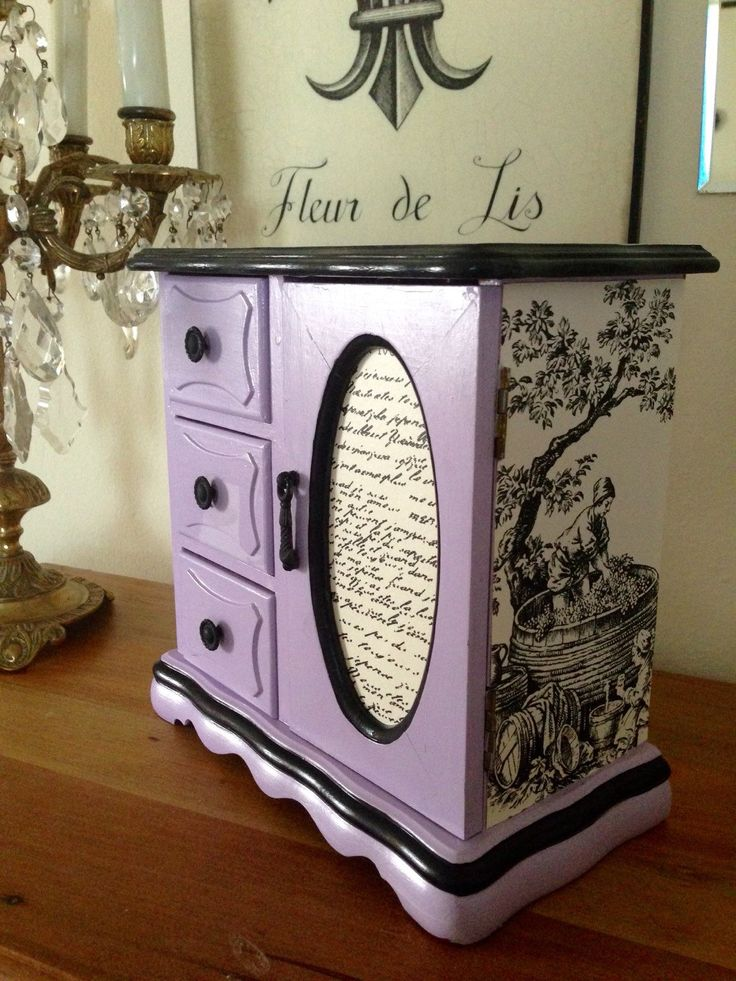 Vintage Wood Jewelry Box Hand Painted Lavender & Decoupaged by ColorfulHomeDesigns on Etsy