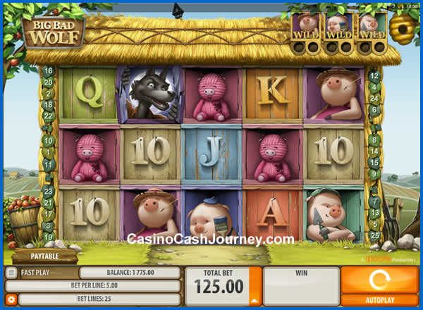 Big Bad Wolf is a 5-reel, 25 payline, Microgaming Video Slot machine with a 1000 coin jackpot. Big Bad Wolf also offers free practice, wild symbol, scatter symbol, free spins and more at http://www.casinocashjourney.com/microgaming-slots/big-bad-wolf.htm