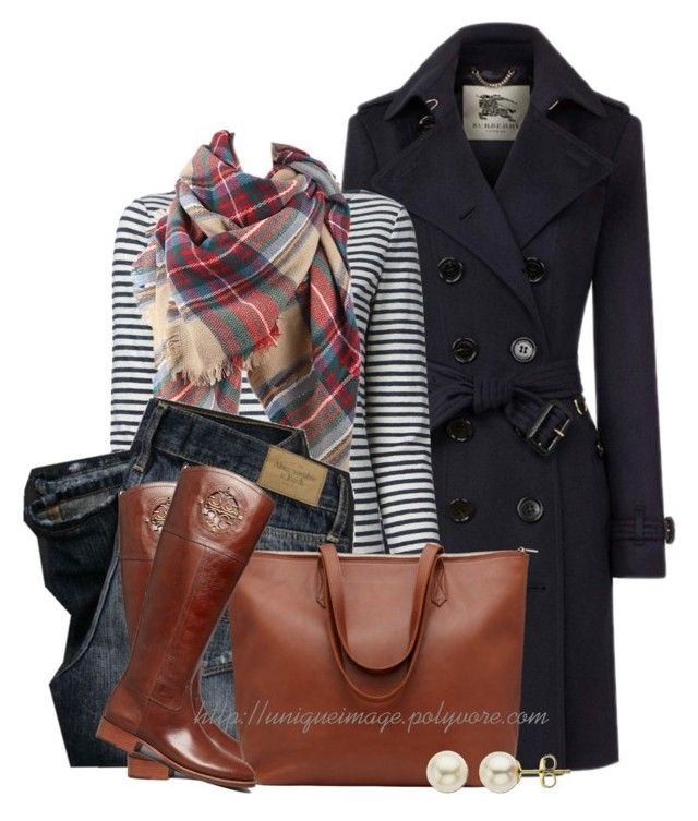 """Burberry Coat"" by uniqueimage ❤ liked on Polyvore featuring Burberry, Tory Burch, F and Lord & Taylor"