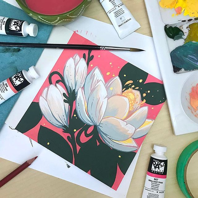 I wanted to play with the ShinHanart PASS hybrid gouache paints today, so I pain…