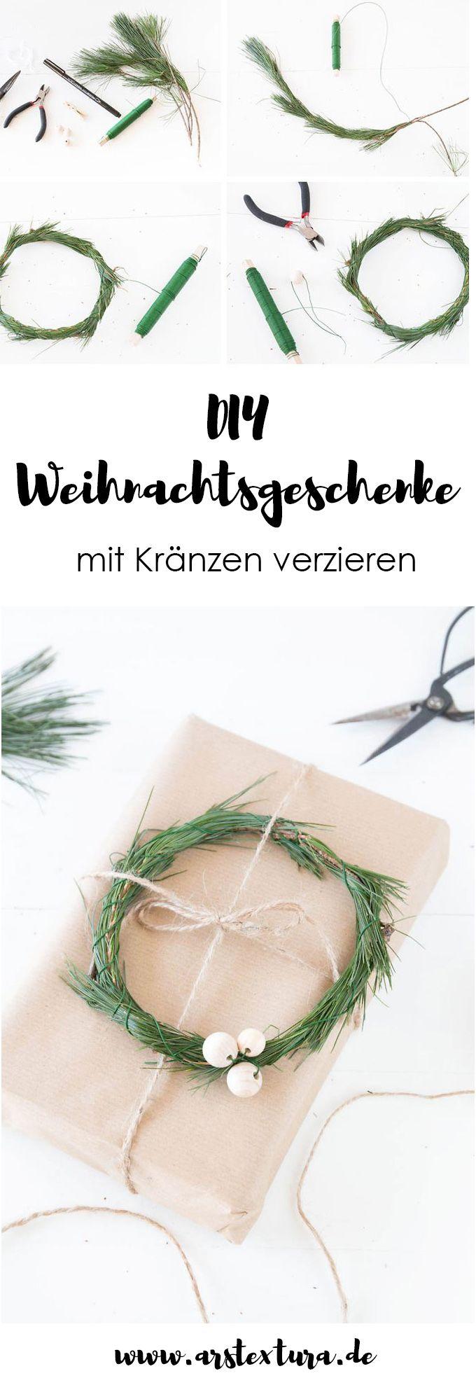 Geschenke Verpacken   Weihnachtsgeschenke Einfach Verpacken Und Kleine  Kränze Aus Tannenzweigen Basteln   #diygeschenk #