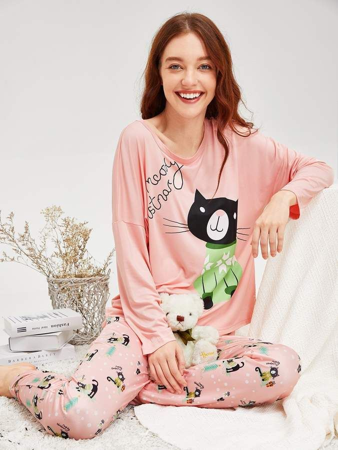7ca09a4894 Shein Christmas Cat Print Pajama Set #Cat#Christmas#Shein | Women's ...