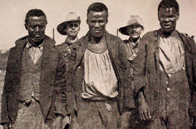 Africans who had spied for the Boers, captured by the British near Waterval, Standerton. Just as many spied on the Boers for the British. Why nor? They were caught in the middle between two groups who thought nothing good of them.