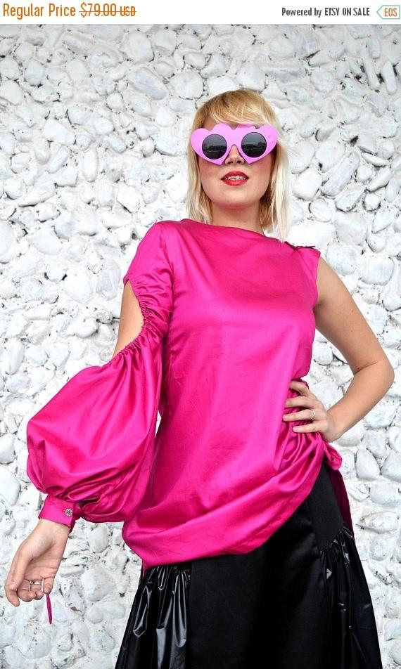 ON SALE One Sleeve Top Hot Pink Top Top with One Shoulder https://www.etsy.com/listing/508576621/on-sale-one-sleeve-top-hot-pink-top-top?utm_campaign=crowdfire&utm_content=crowdfire&utm_medium=social&utm_source=pinterest