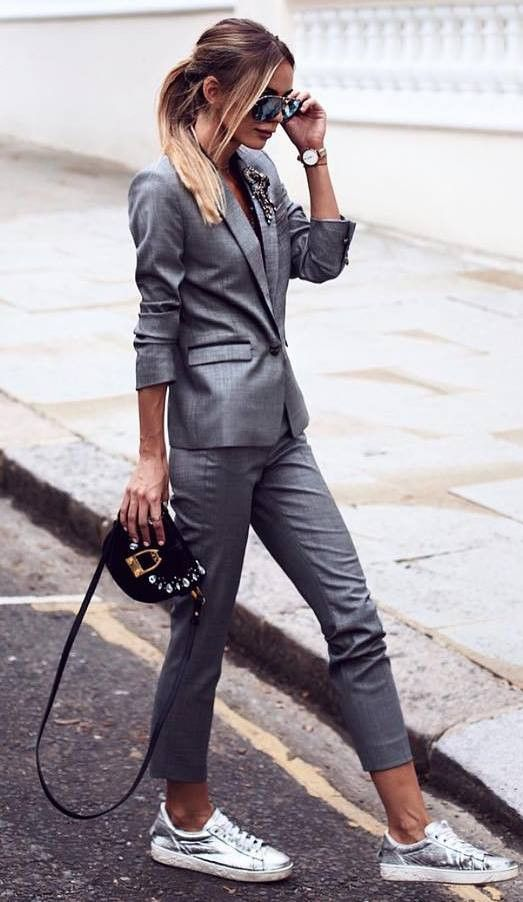 office style obsession / grey set + bag + sneakers