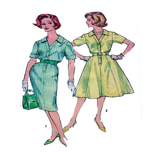 60s Mad Men Style One Piece V Neck Button Front Belted Short Sleeve Shirtwaist Dress Slim or Full Skirt Option Short or 3/4 Sleeve Size 16   men style > http://google.9bromas.com/?p=12