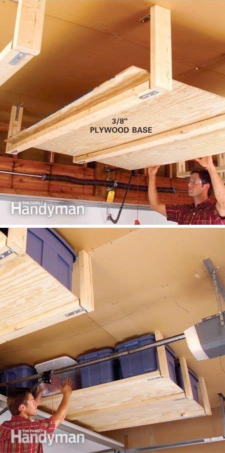 #10. DIY Suspended Shelving -- 28 Brilliant Garage Organization Ideas