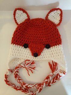 Crochet fox hat silly fox hat infant to adult by Kamillascrochet