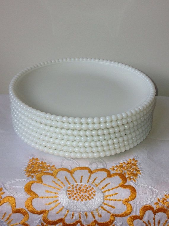 Westmoreland - Beaded Edge - Luncheon Plate - Milk Glass - Set of Seven on Etsy, $70.00