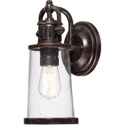 """Quoizel SDN8405 Steadman 1 Light 13"""" Tall Outdoor Wall Sconce with Seedy Glass a Imperial Bronze Outdoor Lighting Wall Sconces Barn Light"""