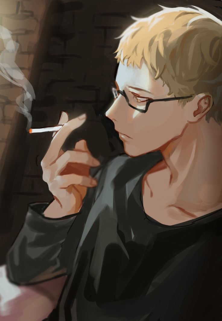 Tsukishima Kei I find it unrealistic for his character to smoke but it's still really good fan art