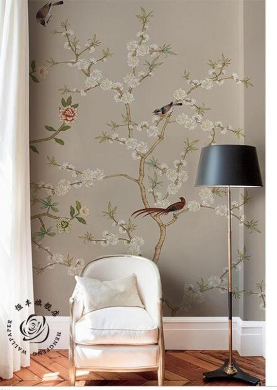 Hand Painted Cherry Tree Chinoiserie Wallpaper Wall Mural Vintage