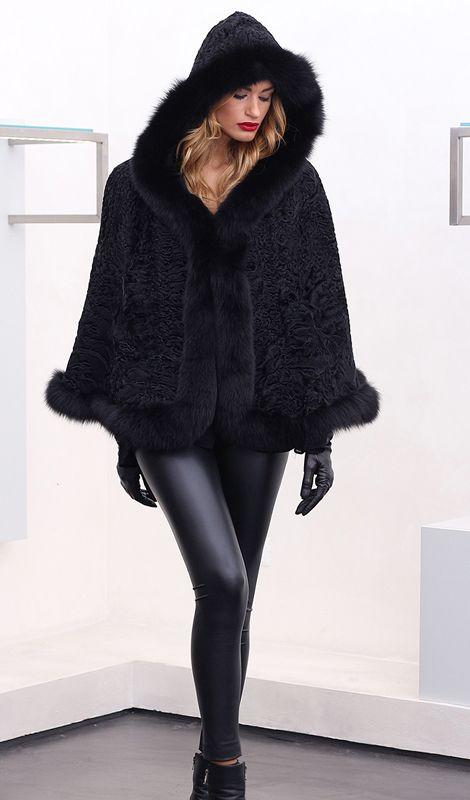 Swakara fur with Fox, whole skins. Made in Italy. Skins Quality: First quality – Saga Royal Furs; Color: Black; Closure: With hooks; Collar: Round; Hood; Lining: 100% Satin; Lining Color: Fantasy, Multicolor; Length: 60 cm; #elsafur #fur #furs #furcoat #coat #mink #minkcoat #cappotto #peliccia #pellicce #НОРКА #ЛИСА #СОБОЛЬ #ШИНШИЛЛА #РЫСЬ #КОЖА #ПИТОНА #АКСЕССУАРЫ #ДРУГОЕ