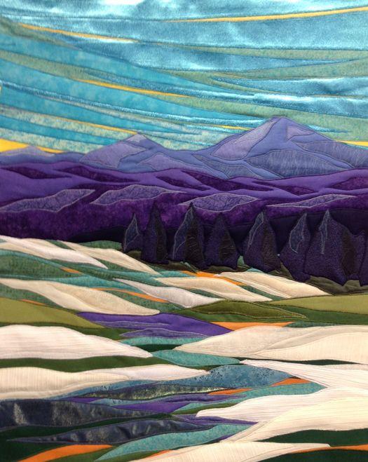 "Snow and Light, 26 x 31"" framed, Lubbesmeyer fiber art | landscape art quilt"