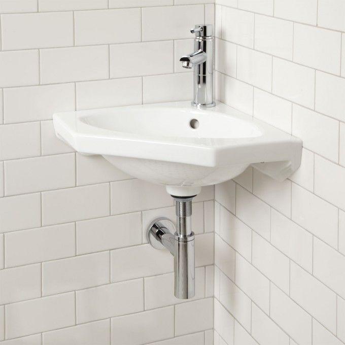 "Borden Wall-Mount Corner Sink - Bathroom Sinks - Bathroom $150 Length: 22-1/4"" Width: 15-1/2"" Height: 6-1/2"" Basin Length: 14-3/4"" Basin Width: 8-7/8"""