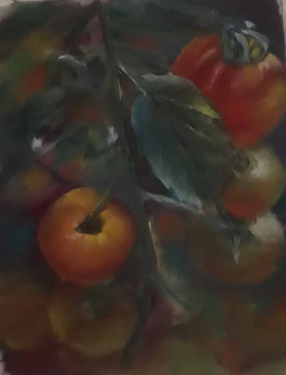 Hey, I found this really awesome Etsy listing at https://www.etsy.com/listing/541425984/tomato-vine-original-pastel-painting