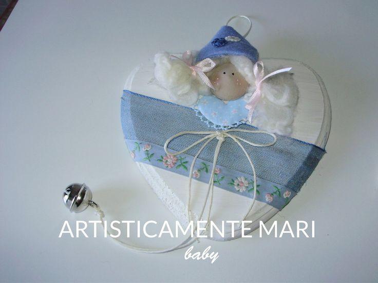 CUORE BABY IN LEGNO DIPINTO A MANO, fiocco nascita, fatto a mano , by ARTISTICAMENTE MARI, 12,60 € su misshobby.com
