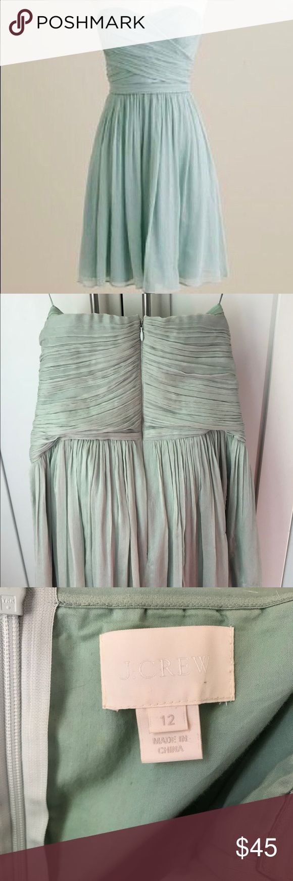 J Crew mint dusty shale strapless bridesmaid dress J crew size 12 mint bridesmaid dress. Needs to be dry cleaned, small spill on front (last picture). Worn to two weddings and danced in, so not perfect condition. But easily cleaned. Very pretty and gorgeous color. j crew Dresses Strapless