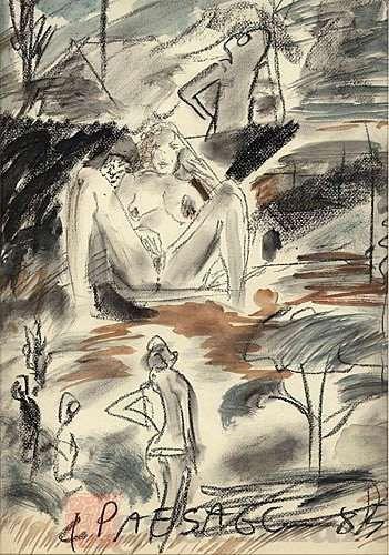 """""""4 paesaggi"""", grafite e guazzo su carta per acquarello, 1985, cm 36,4×50,5 – CODE: 85-026. 4 landscapes. Pastell, Graphit und Tinte auf Papier. crayon, graphite and ink on paper"""