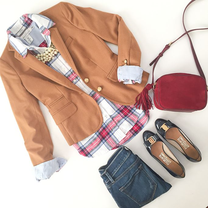 StylishPetite.com | H&M plaid flannel shirt, Jcrew schoolboy camel blazer, essex camera bag, Ferragamo navy bow pumps, flatlay, petite outfits, preppy style