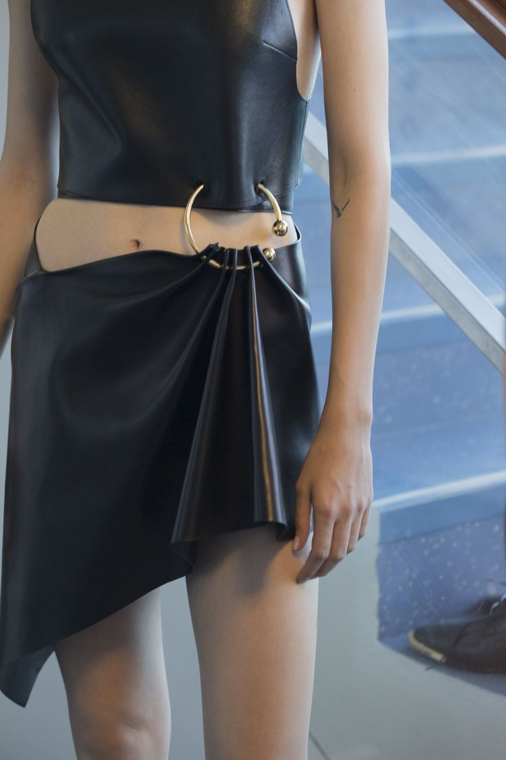 Leather and gold details at Anthony Vaccarello