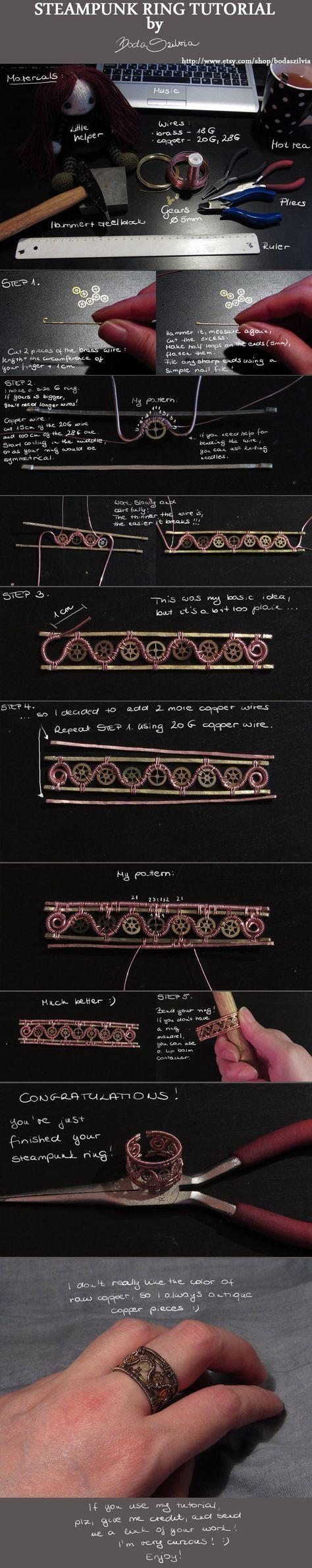 Steampunk ring tutorial by *bodaszilvia on deviantART