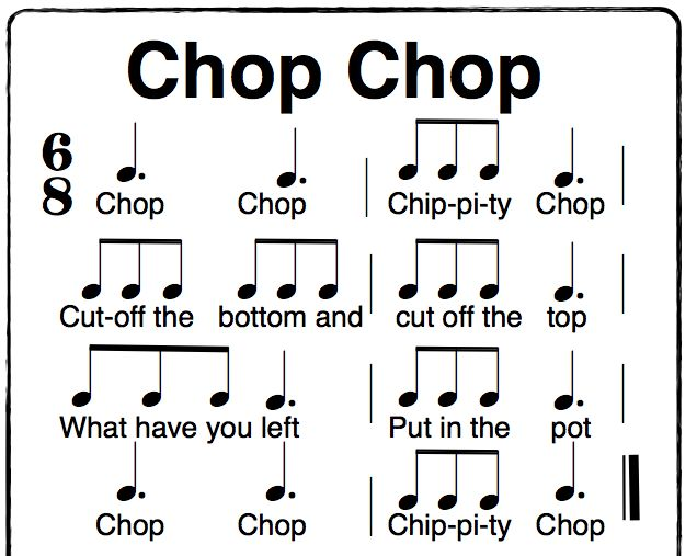 Chop Chop Chippity Chop a fun Orff activity in 6/8 time.   using solfege sol, la, mi, do