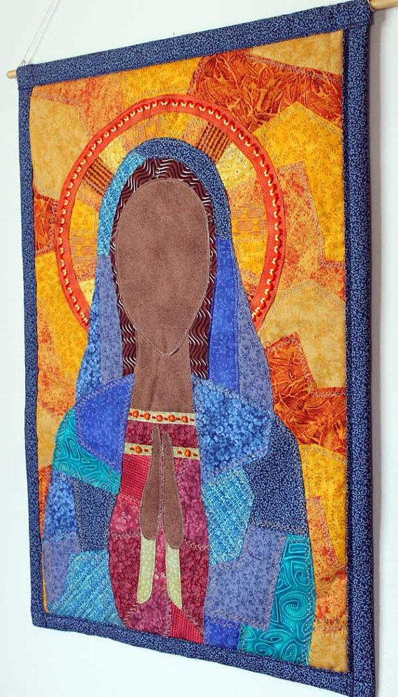 Wall hanging art quilt of Virgin Mary by JPGstudio2536 on Etsy, $155.00