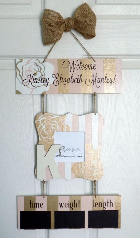 12 x 21 Welcome Baby Girl Hospital Door Hanger by OliveYewToo
