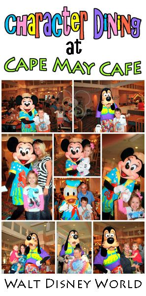 Info on character dining at Cape May Café at the Beach Club Resort at Disney!