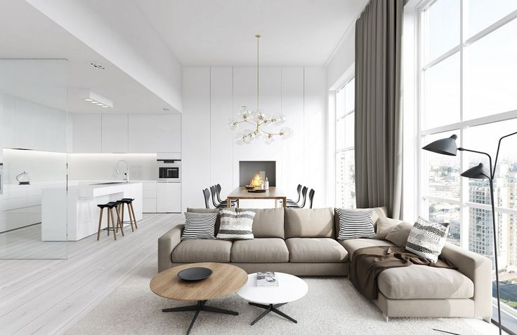white nuance apartment interior design with fabric sectional sofa backs the wooden long dining sets under the decorative pendant lamp and beside the modern white kitchen island with wooden bar stools: cool ideas for spacious living spaces