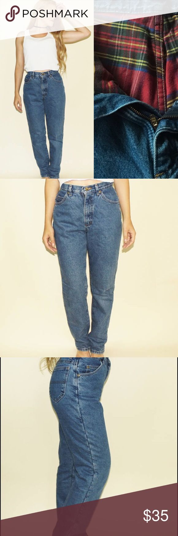 """Vintage 90s L.L. Bean Flannel Lined Jeans Denim 6 