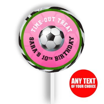 Soccer PERSONALIZED Pink Large Lollipops - 12 Pk Party Supplies Canada - Open A Party