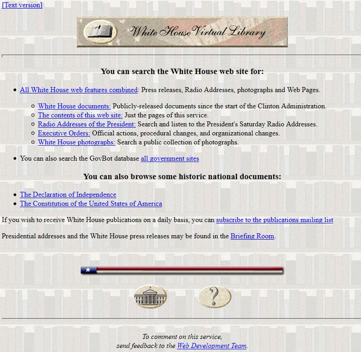 The White House website in 1997