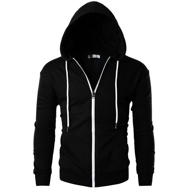 Ohoo Mens Slim Fit Long Sleeve Lightweight Zip-up Hoodie With Kanga... ($29) ❤ liked on Polyvore featuring men's fashion, men's clothing, men's hoodies, mens hoodies, mens zip up hoodies, lightweight mens hoodies, mens lightweight hoodie and mens slim fit hoodies