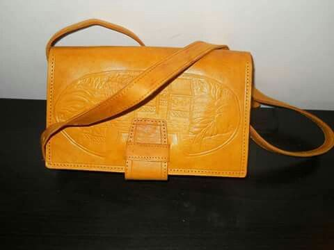 yellow leather hand made bag