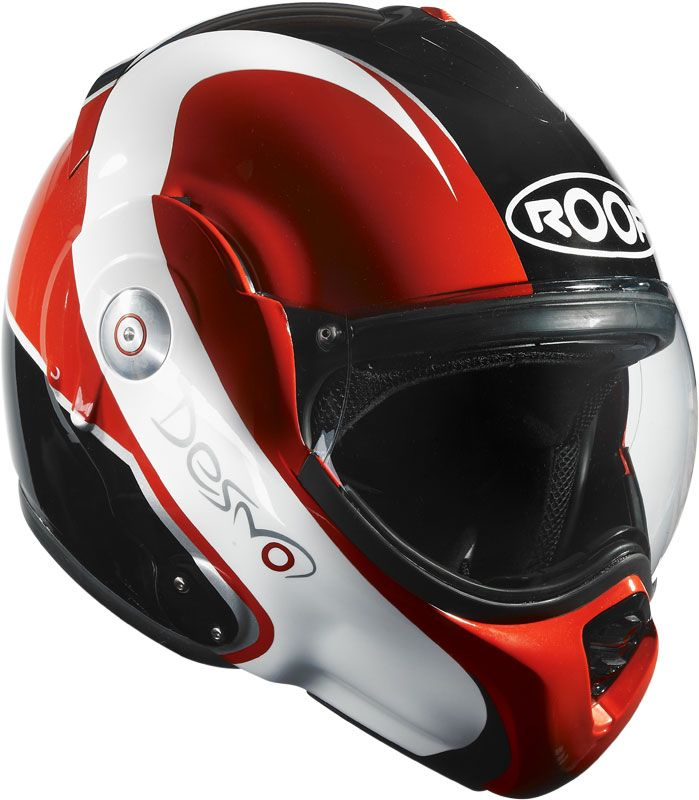 Roof Desmo Elico Black/ Red Flip Front Motorcycle Helmet