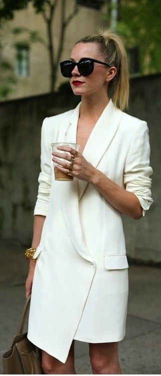 White, Long Blazer - Classic Look.