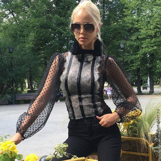 """Купить Блузка """"Романтика"""" - черный, черная юбка, черная блузка, юбка, блузка, кружевная юбка"""