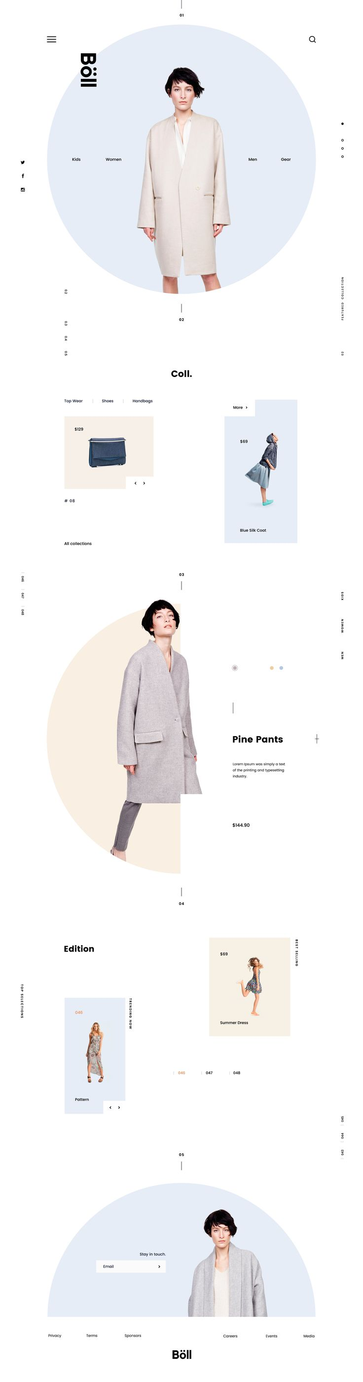 Website design for fashion e-commerce. Design style inspired from Scandinavian & Japanese fusion