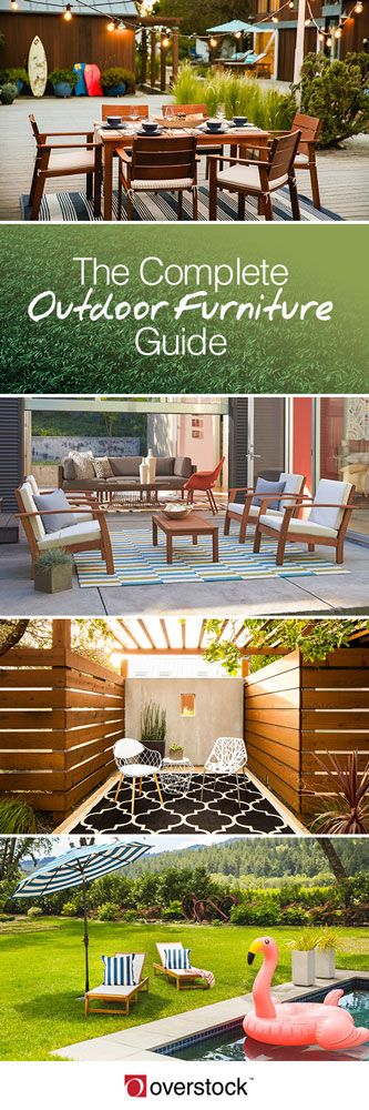 Amplify your outdoor space with outdoor furniture that is comfortable, affordable and provides ample seating. Discover sectionals, sofas and chairs that fit your style,your space and your climate only at Overstock. Our Complete Outdoor Furniture Buying Guide contains helpful info and handy tips to make the process less intimidating and your outdoor area a seating success!