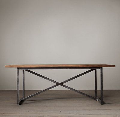 American furniture industry loft style table vintage wood furniture, wrought iron dining table coffee table desk desk - Taobao