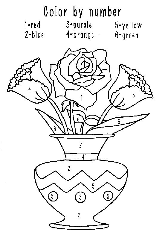 Coloring Amp Activity Pages Flowers In A Vase Color By Number