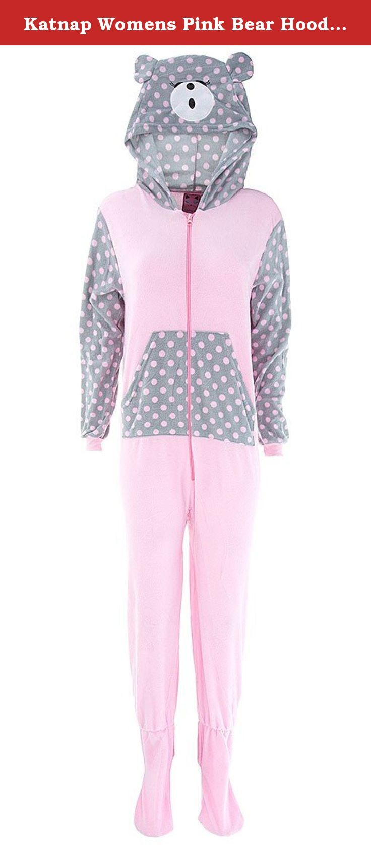 Katnap Womens Pink Bear Hooded Footed Pajamas L. These fleece, footed pajamas are made of warm micro polar fleece. They feature a fun, animal print. The brand is Katnap. They zip up the front. The soles of the feet have a non-skid finish.
