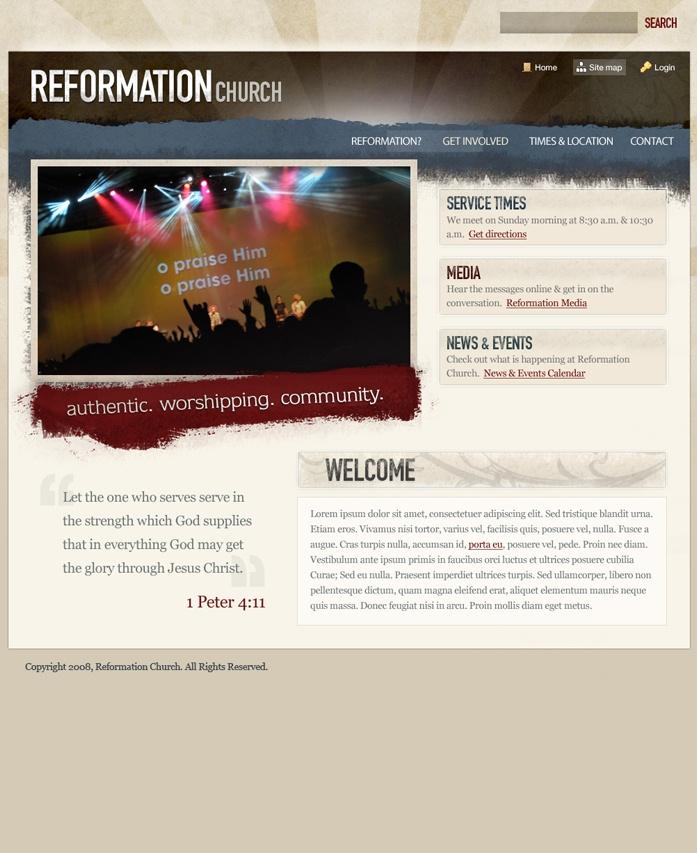 reformation bursts church website design template - Church Website Design Ideas
