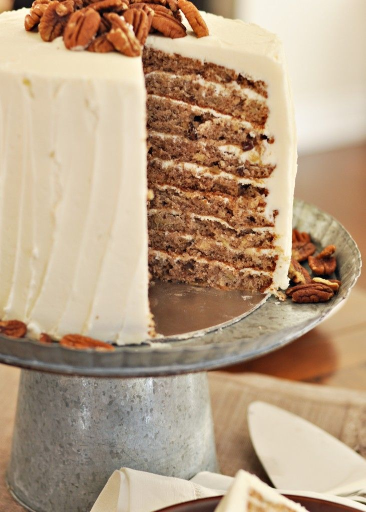 Sky-High Hummingbird Cake -- a great southern favorite -- bananas, pineapple, cinnamon, and pecans; filled and frosted with rich, fluffy cream cheese icing,