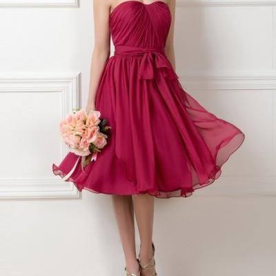 Dressv bretelles bourgogne demoiselle d honneur robe 2016 genou longueur robe de soiree de mariage d