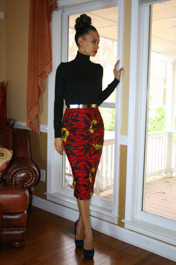 African Print Pencil Skirt by MelangeMode on Etsy