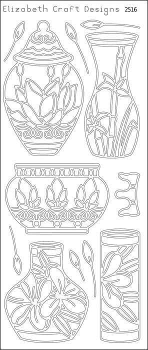ELIZABETH CRAFT DESIGNS-Peel Off Outline Stickers: Asian Vases. A great way to customize your craft and art projects! Use Peel O... (see details) $1.99